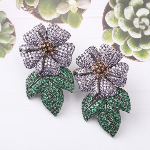 Luxury Flower With Dangling Leaves Studded with AAA Zircon 1