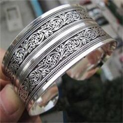 Silver Plated Carved Statement bangle 1