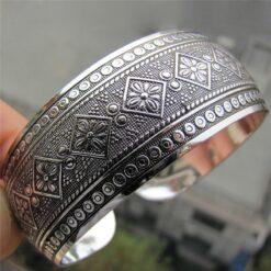 Ethnic Zinc Alloy Antique Carved Statement Wide Cuff Bracelet 2