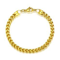 Titanium Steel Gold Plated Chain Link Bracelet 2
