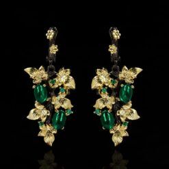 925 Silver with Black Gold Plating Green Flower Leaf Earrings 1