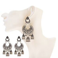 Ethnic Silver Color Hollow Afghan Earrings  2
