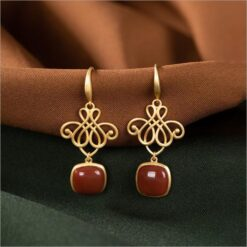 Silver With Natural Red Tourmaline Chinese Knot Earrings  1
