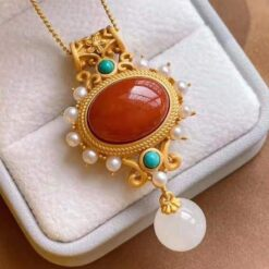 925 Silver in Matte Gold Plating With Natural Red Agate Stone    1