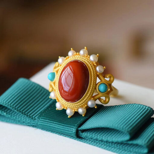 925 Silver in Matte Gold Plating With Natural Red Agate Stone    3