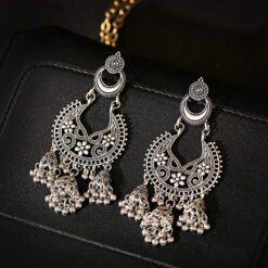 Ethnic Silver Color Hollow Afghan Earrings  1