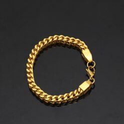 Titanium Steel Gold Plated Chain Link Bracelet 1