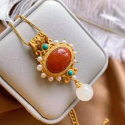 925 Silver in Matte Gold Plating With Natural Red Agate Stone    2