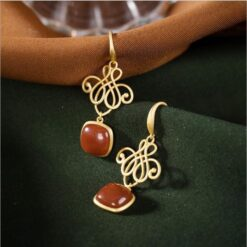 Silver With Natural Red Tourmaline Chinese Knot Earrings  2
