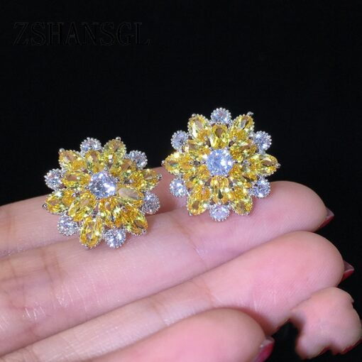 925 Sterling Silver Yellow Daisy Flower with Zircons 2