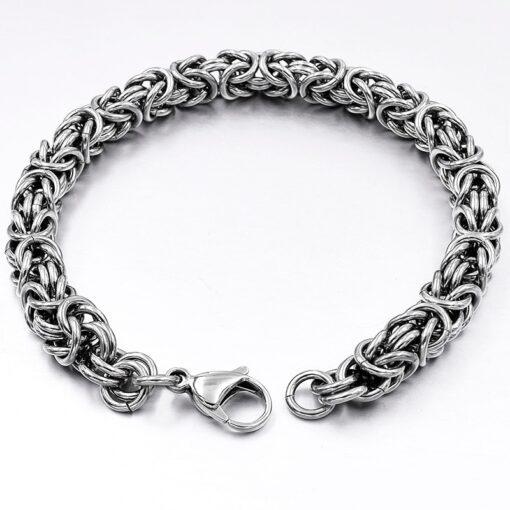 Stainless Steel Byzantine Chain Bracelet  1