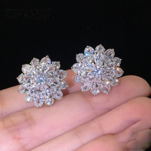 925 Sterling Silver Yellow Daisy Flower with Zircons 1