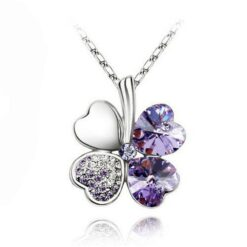 Crystal Heart Clover Pendant with Chain 1