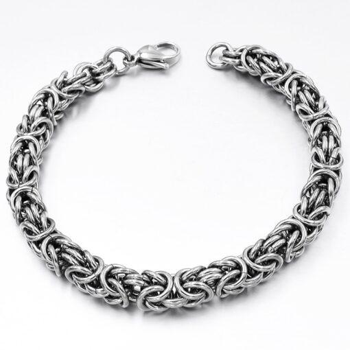 Stainless Steel Byzantine Chain Bracelet  3