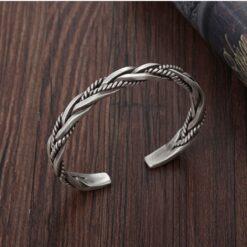925 Sterling Silver Twisted Woven Bracelet  2