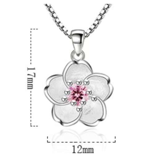 925 Sterling Silver Pink Crystal Zircon Flower Pendant Necklace Length 45CM 3