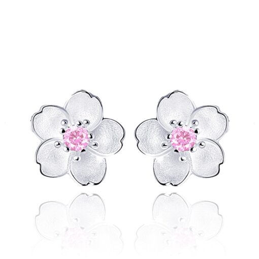 925 Sterling Silver Cherry Blossom Inlaid Pink Zircon Ear Studs  5