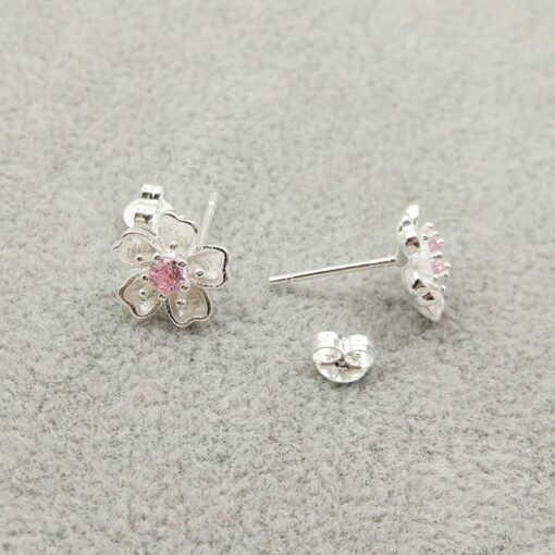 925 Sterling Silver Cherry Blossom Inlaid Pink Zircon Ear Studs  2