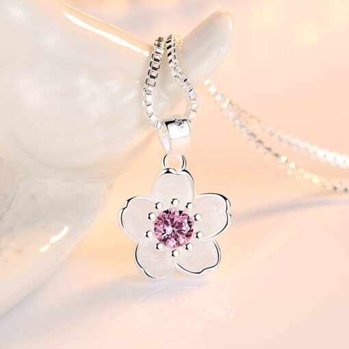 925 Sterling Silver Pink Crystal Zircon Flower Pendant Necklace Length 45CM 1