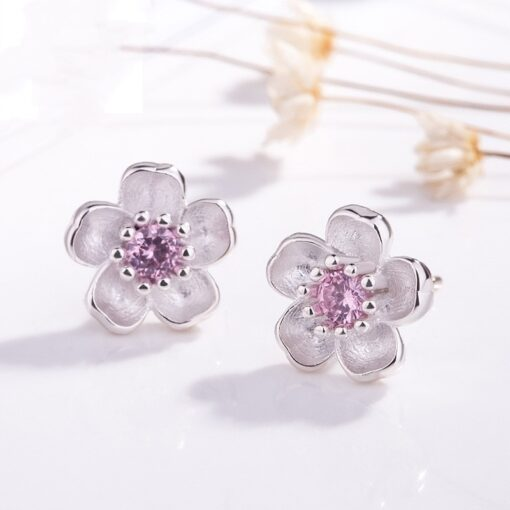 925 Sterling Silver Cherry Blossom Inlaid Pink Zircon Ear Studs  4