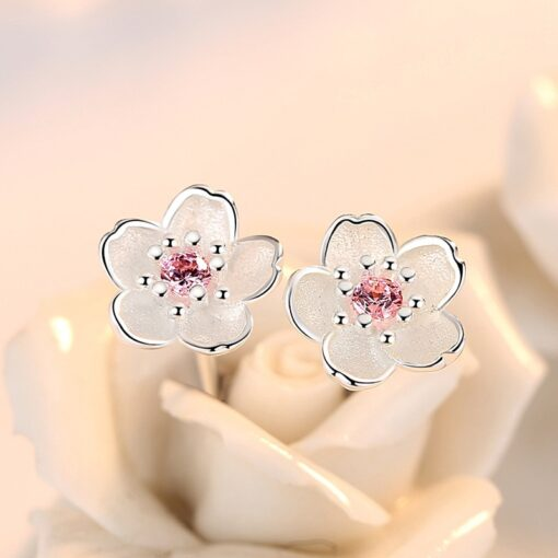 925 Sterling Silver Cherry Blossom Inlaid Pink Zircon Ear Studs  1