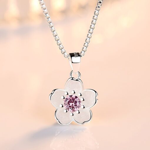 925 Sterling Silver Pink Crystal Zircon Flower Pendant Necklace Length 45CM 2