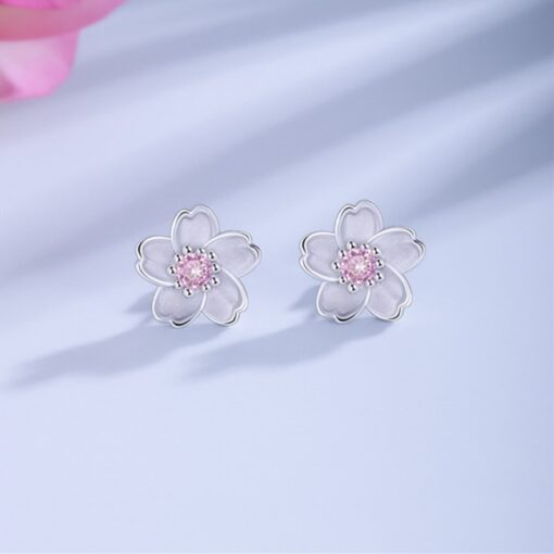 925 Sterling Silver Cherry Blossom Inlaid Pink Zircon Ear Studs  3